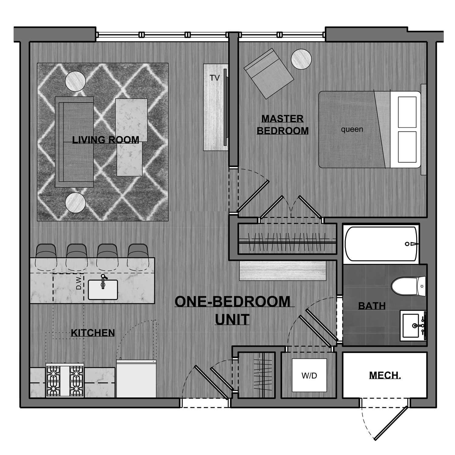 KRAMS 1 bedroom floor plan
